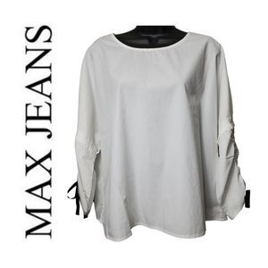 4/$40 Max Jeans White Boxy Blouse Lagenlook